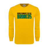 Gold Long Sleeve T Shirt-Bronx Community College Bronocs
