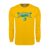 Gold Long Sleeve T Shirt-Cross Bats Design