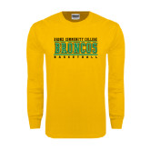 Gold Long Sleeve T Shirt-Stacked Basketball Design