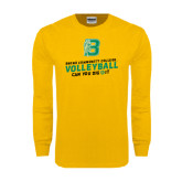 Gold Long Sleeve T Shirt-Volleyball Design