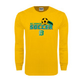 Gold Long Sleeve T Shirt-Soccer Swoosh
