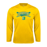 Performance Gold Longsleeve Shirt-Cross Bats Design
