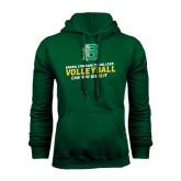 Dark Green Fleece Hood-Volleyball Design