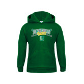 Youth Dark Green Fleece Hoodie-Cross Bats Design