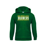 Youth Dark Green Fleece Hoodie-Stacked Basketball Design