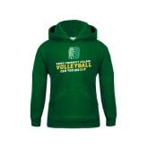 Youth Dark Green Fleece Hoodie-Volleyball Design