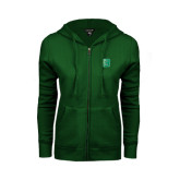 ENZA Ladies Dark Green Fleece Full Zip Hoodie-Bronoc