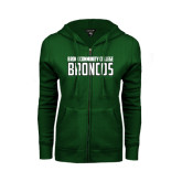 ENZA Ladies Dark Green Fleece Full Zip Hoodie-Bronx Community College Bronocs