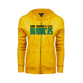 ENZA Ladies Gold Fleece Full Zip Hoodie-Bronx Community College Bronocs