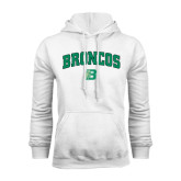 White Fleece Hoodie-Arched Broncos