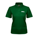 Ladies Dark Green Dry Mesh Polo-Official Logo