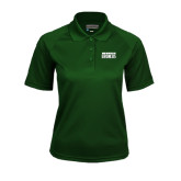 Ladies Dark Green Textured Saddle Shoulder Polo-Bronx Community College Bronocs