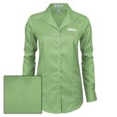 Ladies Red House Green Herringbone Non Iron Long Sleeve Shirt-Official Logo