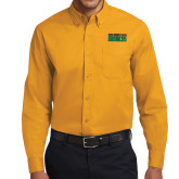 Gold Twill Button Down Long Sleeve-Bronx Community College Bronocs