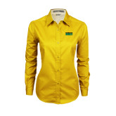 Ladies Gold Twill Button Down Long Sleeve-Bronx Community College Bronocs