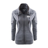 Ladies Sport Wick Stretch Full Zip Charcoal Jacket-Bronx Community College Bronocs