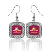 Crystal Studded Square Pendant Silver Dangle Earrings-Brooklyn College Athletic Mark
