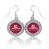 Crystal Studded Round Pendant Silver Dangle Earrings-Brooklyn College Athletic Mark