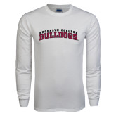 White Long Sleeve T Shirt-Bulldogs Arched