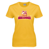 Ladies Gold T Shirt-Brooklyn College Athletic Mark