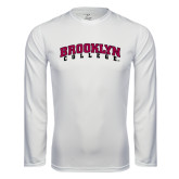 Performance White Longsleeve Shirt-Brooklyn College Arched