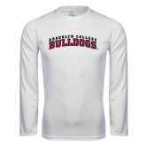 Performance White Longsleeve Shirt-Bulldogs Arched