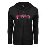 ENZA Ladies Black Fleece Full Zip Hoodie-Brooklyn College Arched