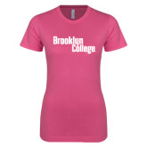 Next Level Ladies SoftStyle Junior Fitted Pink Tee-Brooklyn College