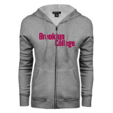 ENZA Ladies Grey Fleece Full Zip Hoodie-Brooklyn College