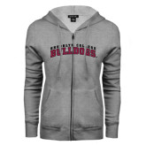 ENZA Ladies Grey Fleece Full Zip Hoodie-Bulldogs Arched