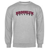 Grey Fleece Crew-Brooklyn College Arched