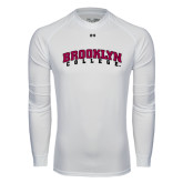 Under Armour White Long Sleeve Tech Tee-Brooklyn College Arched