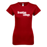 Next Level Ladies SoftStyle Junior Fitted Cardinal Tee-Brooklyn College