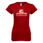 Next Level Ladies SoftStyle Junior Fitted Cardinal Tee-Brooklyn College Athletic Mark