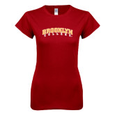 Next Level Ladies SoftStyle Junior Fitted Cardinal Tee-Brooklyn College Arched