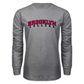 Grey Long Sleeve T Shirt-Brooklyn College Arched