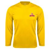 Performance Gold Longsleeve Shirt-Brooklyn College Athletic Mark