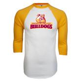 White/Gold Raglan Baseball T-Shirt-Brooklyn College Athletic Mark