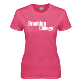 Ladies Fuchsia T Shirt-Brooklyn College