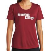 Ladies Syntrel Performance Cardinal Tee-Brooklyn College