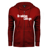 ENZA Ladies Cardinal Fleece Full Zip Hoodie-Brooklyn College