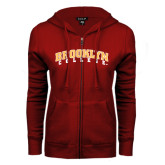 ENZA Ladies Cardinal Fleece Full Zip Hoodie-Brooklyn College Arched