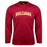 Performance Cardinal Longsleeve Shirt-Bulldogs Arched