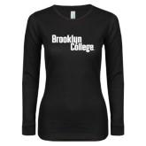 Ladies Black Long Sleeve V Neck Tee-Brooklyn College