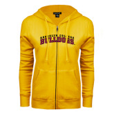 ENZA Ladies Gold Fleece Full Zip Hoodie-Bulldogs Arched