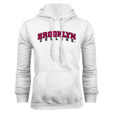 White Fleece Hoodie-Brooklyn College Arched