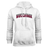 White Fleece Hoodie-Bulldogs Arched