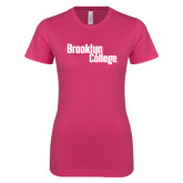 Next Level Ladies SoftStyle Junior Fitted Fuchsia Tee-Brooklyn College