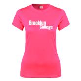 Ladies Performance Hot Pink Tee-Brooklyn College