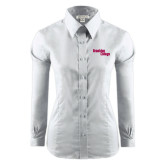 Ladies Red House White Long Sleeve Shirt-Brooklyn College